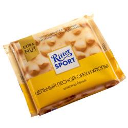 Шоколад Ritter Sport белый цельный лесной орех/хлопья 100 г